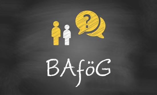 """Text """"BAföG"""" auf einer Tafel mit kleinen Symbol-Männchen"""
