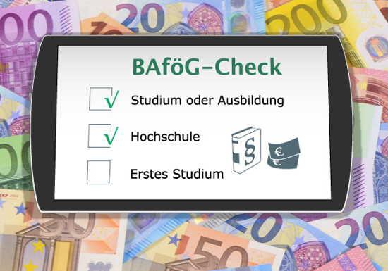 Tablet auf Geldscheinen, Bildschirm zeigt (symbolisch) BAföG-Check