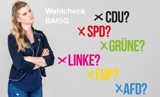 """""""Wahlcheck BAföG"""" – Frau mit verschiedenen Parteien"""