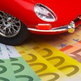 Auto-Modell (Oldtimer) auf Geldscheinen (100 €, 200 €, 500 €)